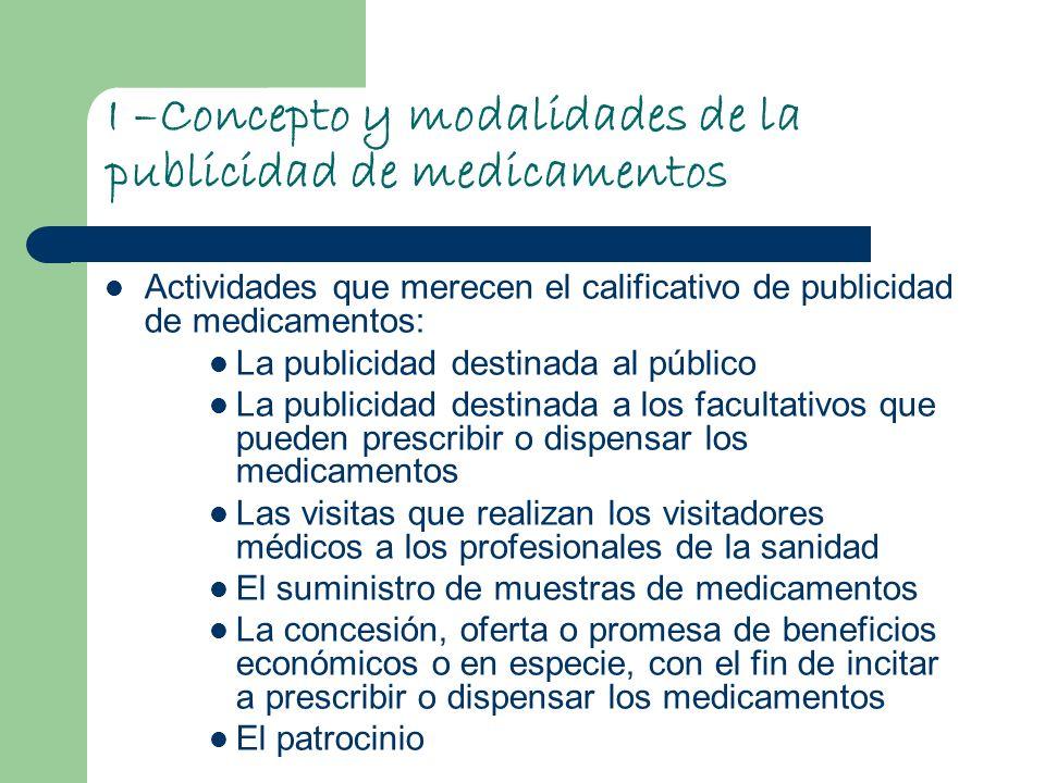 I –Concepto y modalidades de la publicidad de medicamentos Actividades que merecen el calificativo de publicidad de medicamentos: La publicidad destin