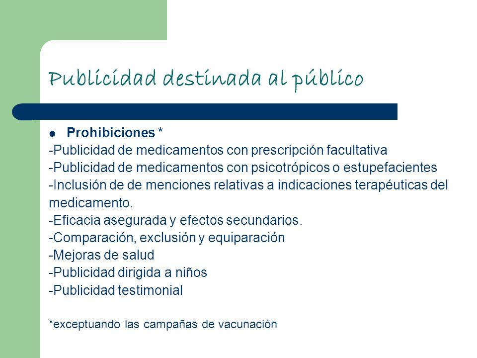 Publicidad destinada al público Prohibiciones * -Publicidad de medicamentos con prescripción facultativa -Publicidad de medicamentos con psicotrópicos