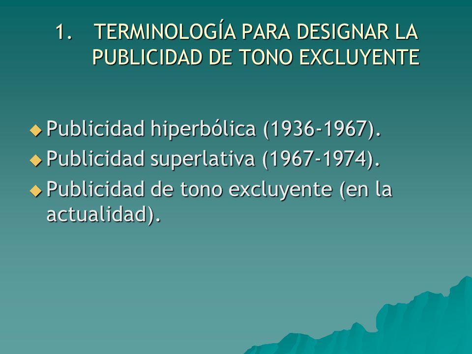 1.TERMINOLOGÍA PARA DESIGNAR LA PUBLICIDAD DE TONO EXCLUYENTE Publicidad hiperbólica (1936-1967). Publicidad hiperbólica (1936-1967). Publicidad super