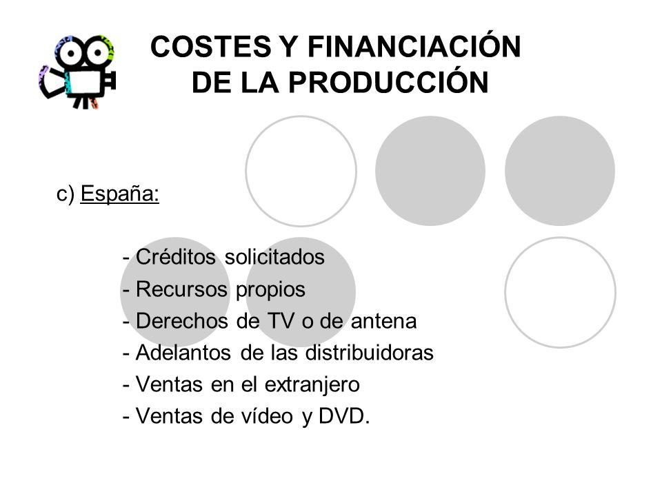 COSTES Y FINANCIACIÓN DE LA PRODUCCIÓN c) España: - Créditos solicitados - Recursos propios - Derechos de TV o de antena - Adelantos de las distribuid