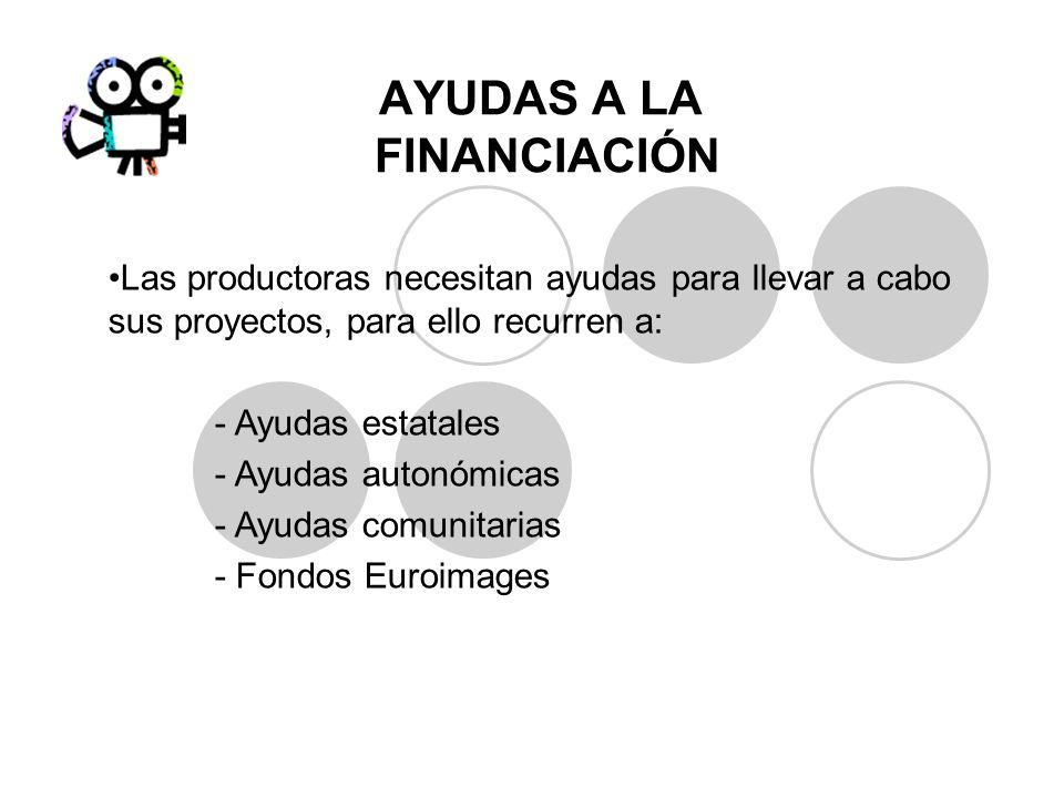 AYUDAS A LA FINANCIACIÓN Las productoras necesitan ayudas para llevar a cabo sus proyectos, para ello recurren a: - Ayudas estatales - Ayudas autonómi