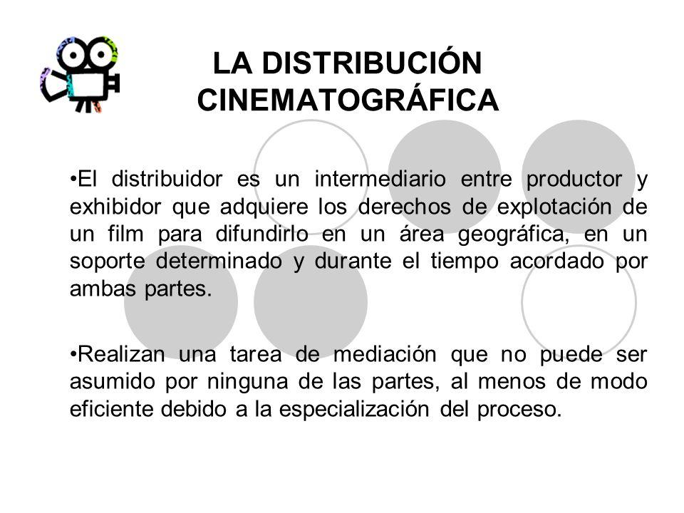 LA DISTRIBUCIÓN CINEMATOGRÁFICA El distribuidor es un intermediario entre productor y exhibidor que adquiere los derechos de explotación de un film pa