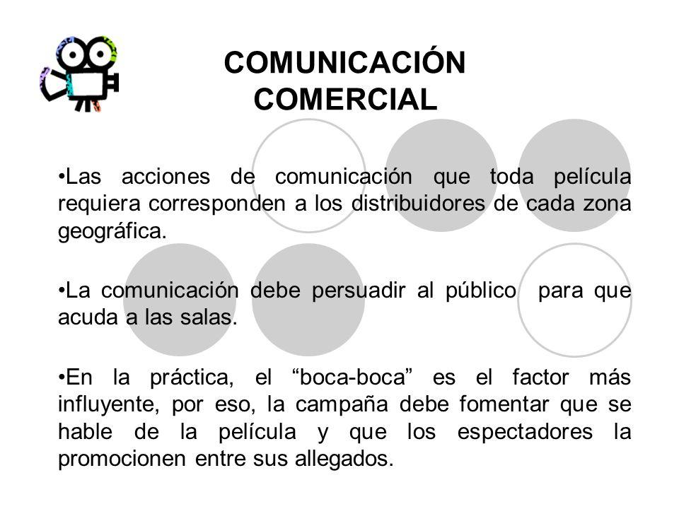 COMUNICACIÓN COMERCIAL Las acciones de comunicación que toda película requiera corresponden a los distribuidores de cada zona geográfica. La comunicac