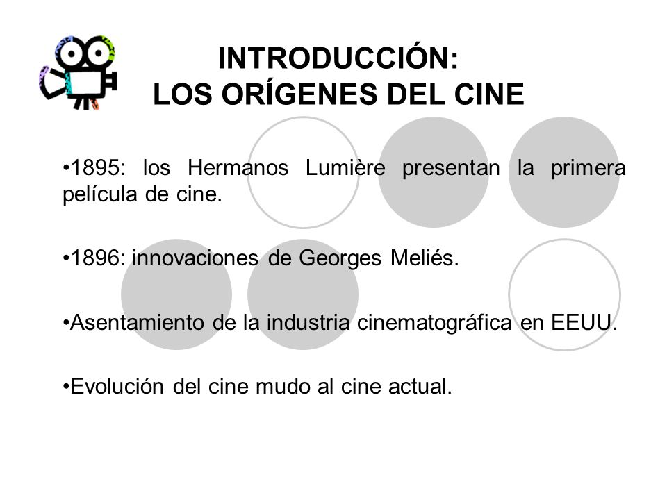 INTRODUCCIÓN: LOS ORÍGENES DEL CINE 1895: los Hermanos Lumière presentan la primera película de cine. 1896: innovaciones de Georges Meliés. Asentamien