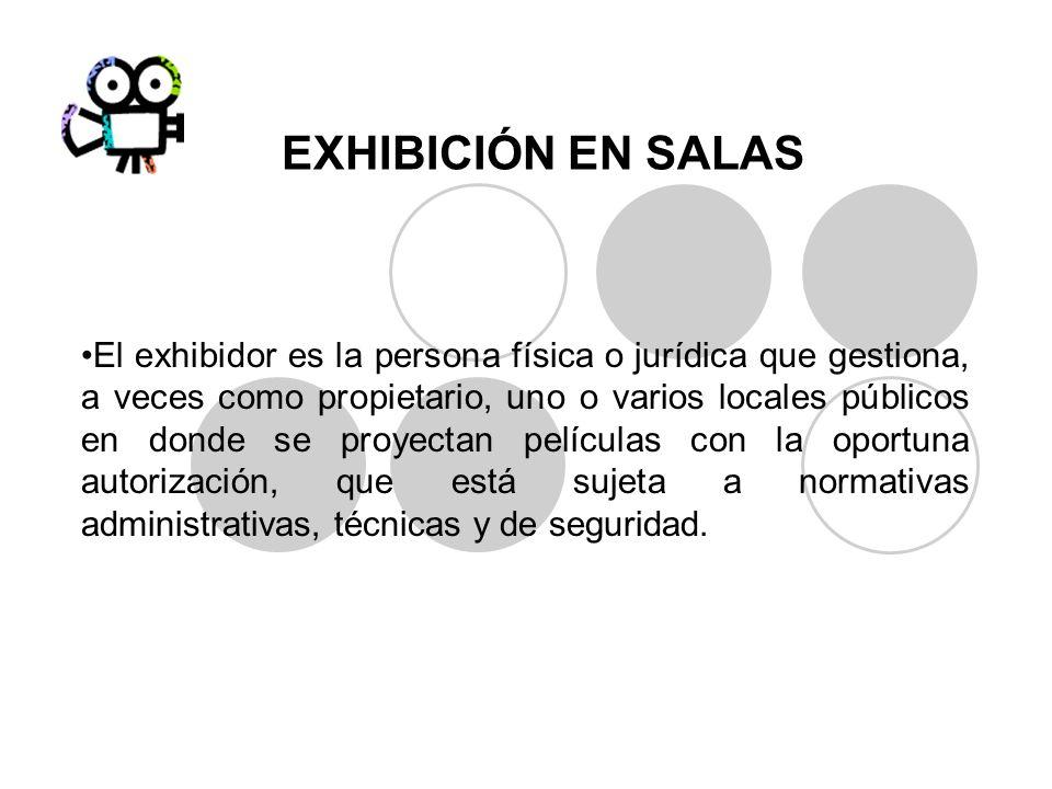 EXHIBICIÓN EN SALAS El exhibidor es la persona física o jurídica que gestiona, a veces como propietario, uno o varios locales públicos en donde se pro