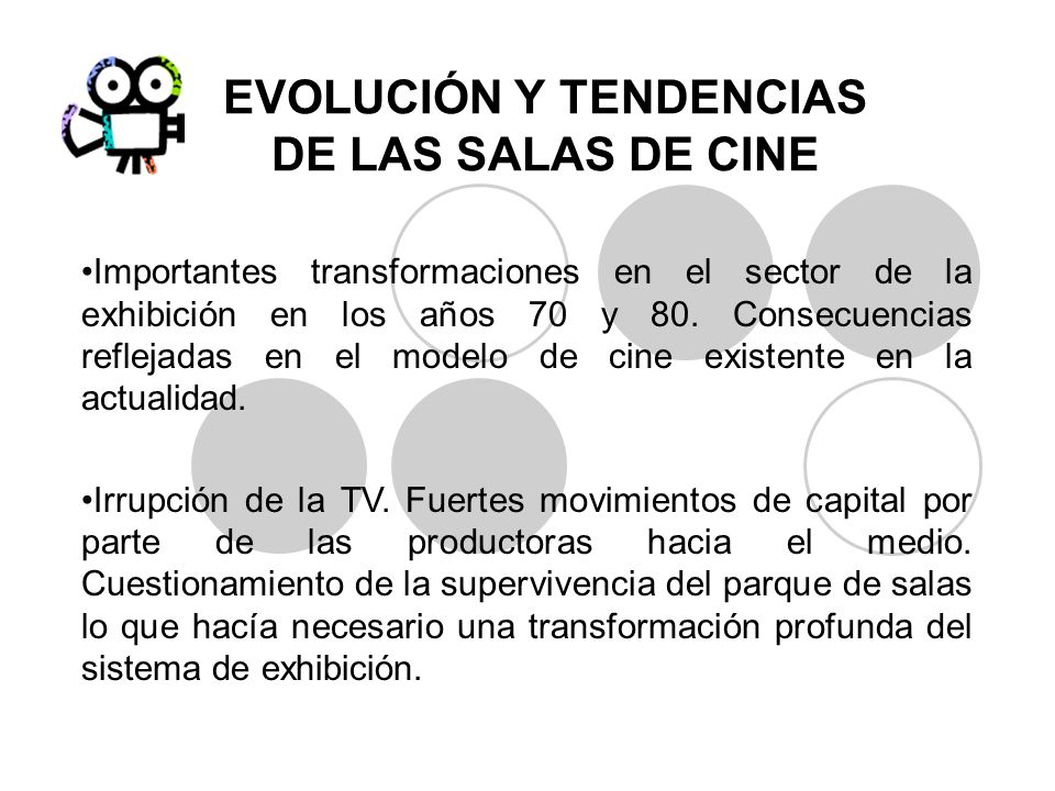 EVOLUCIÓN Y TENDENCIAS DE LAS SALAS DE CINE Importantes transformaciones en el sector de la exhibición en los años 70 y 80. Consecuencias reflejadas e
