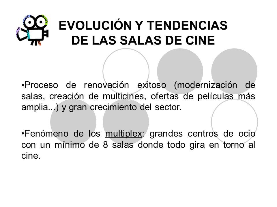 EVOLUCIÓN Y TENDENCIAS DE LAS SALAS DE CINE Proceso de renovación exitoso (modernización de salas, creación de multicines, ofertas de películas más am