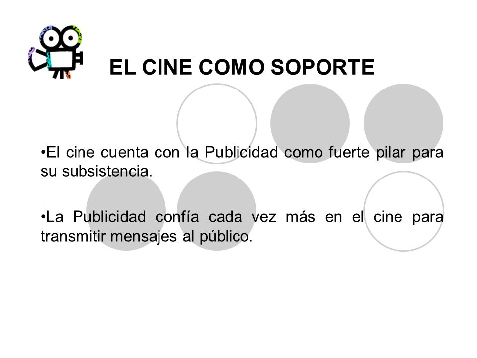 EL CINE COMO SOPORTE El cine cuenta con la Publicidad como fuerte pilar para su subsistencia. La Publicidad confía cada vez más en el cine para transm