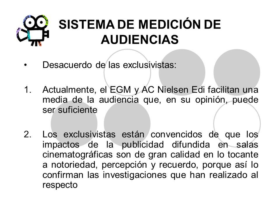SISTEMA DE MEDICIÓN DE AUDIENCIAS Desacuerdo de las exclusivistas: 1.Actualmente, el EGM y AC Nielsen Edi facilitan una media de la audiencia que, en