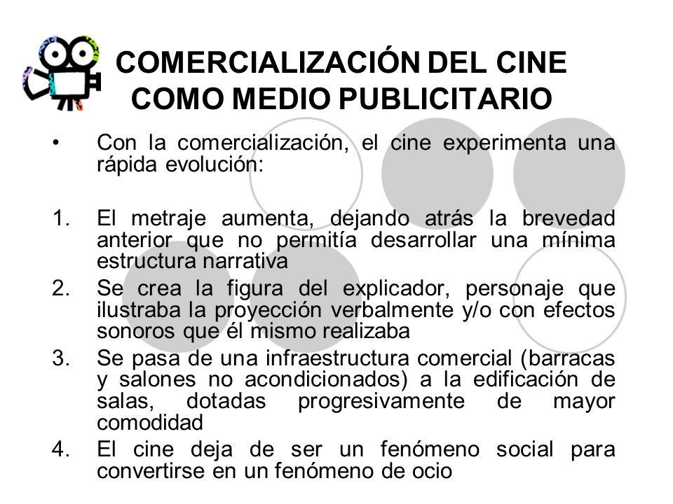 COMERCIALIZACIÓN DEL CINE COMO MEDIO PUBLICITARIO Con la comercialización, el cine experimenta una rápida evolución: 1.El metraje aumenta, dejando atr