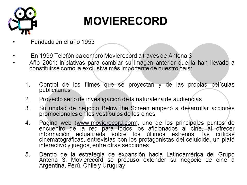 MOVIERECORD Fundada en el año 1953 En 1999 Telefónica compró Movierecord a través de Antena 3 Año 2001: iniciativas para cambiar su imagen anterior qu