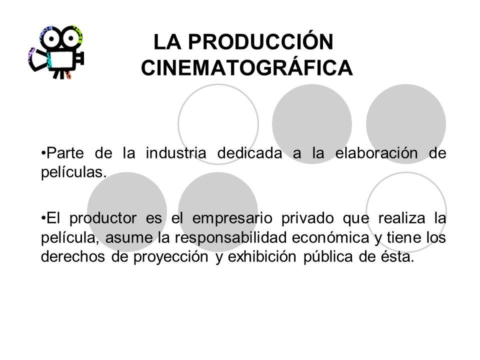 LA PRODUCCIÓN CINEMATOGRÁFICA Parte de la industria dedicada a la elaboración de películas. El productor es el empresario privado que realiza la pelíc