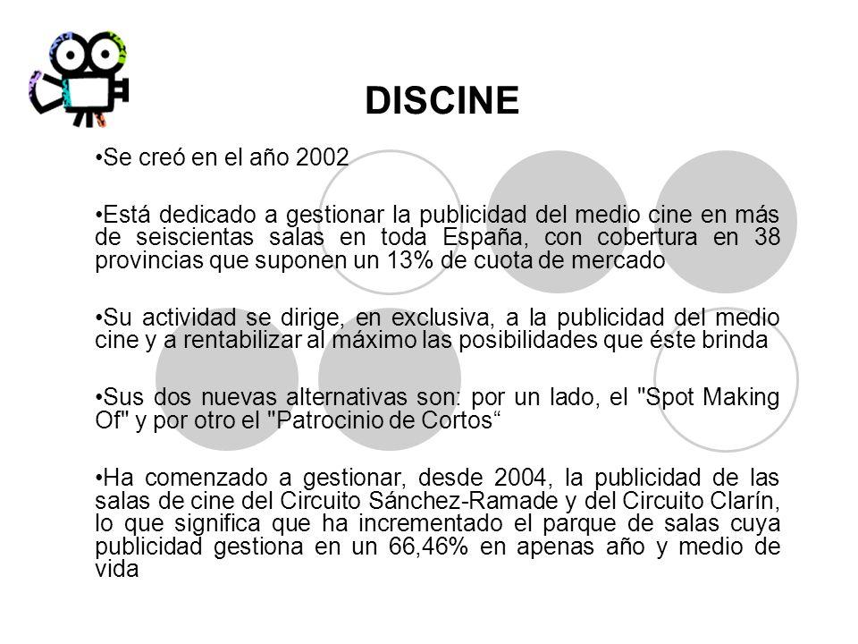 DISCINE Se creó en el año 2002 Está dedicado a gestionar la publicidad del medio cine en más de seiscientas salas en toda España, con cobertura en 38
