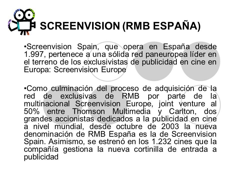 SCREENVISION (RMB ESPAÑA) Screenvision Spain, que opera en España desde 1.997, pertenece a una sólida red paneuropea líder en el terreno de los exclus