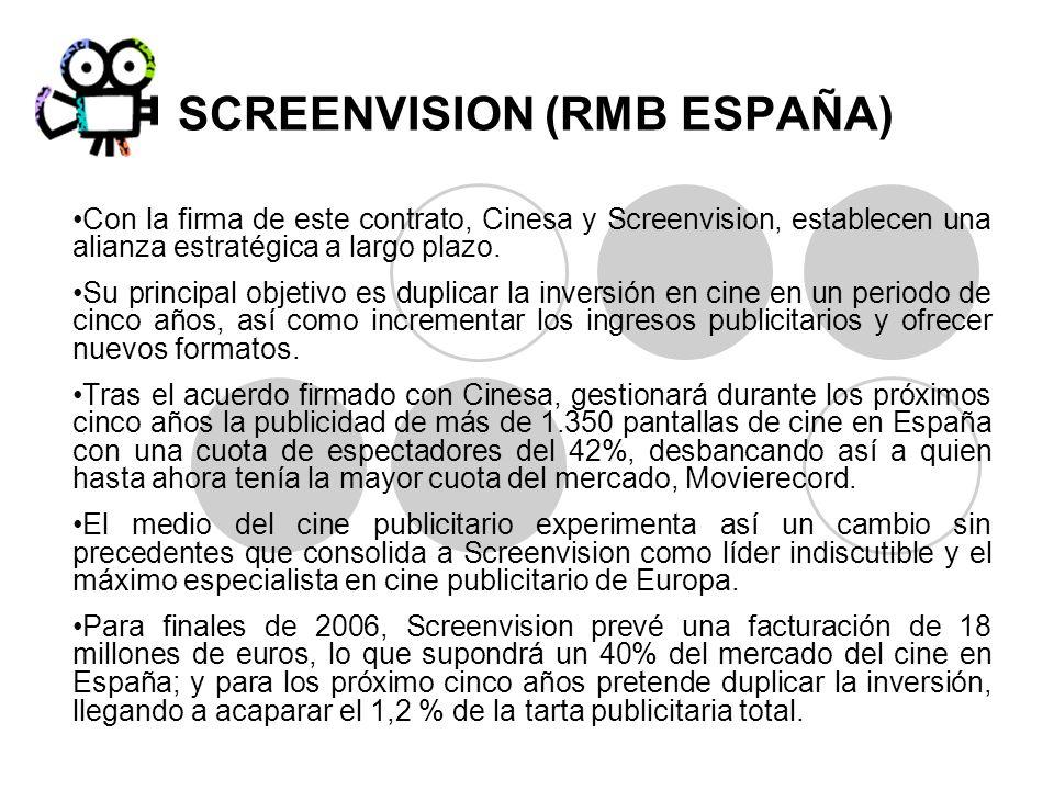 SCREENVISION (RMB ESPAÑA) Con la firma de este contrato, Cinesa y Screenvision, establecen una alianza estratégica a largo plazo. Su principal objetiv