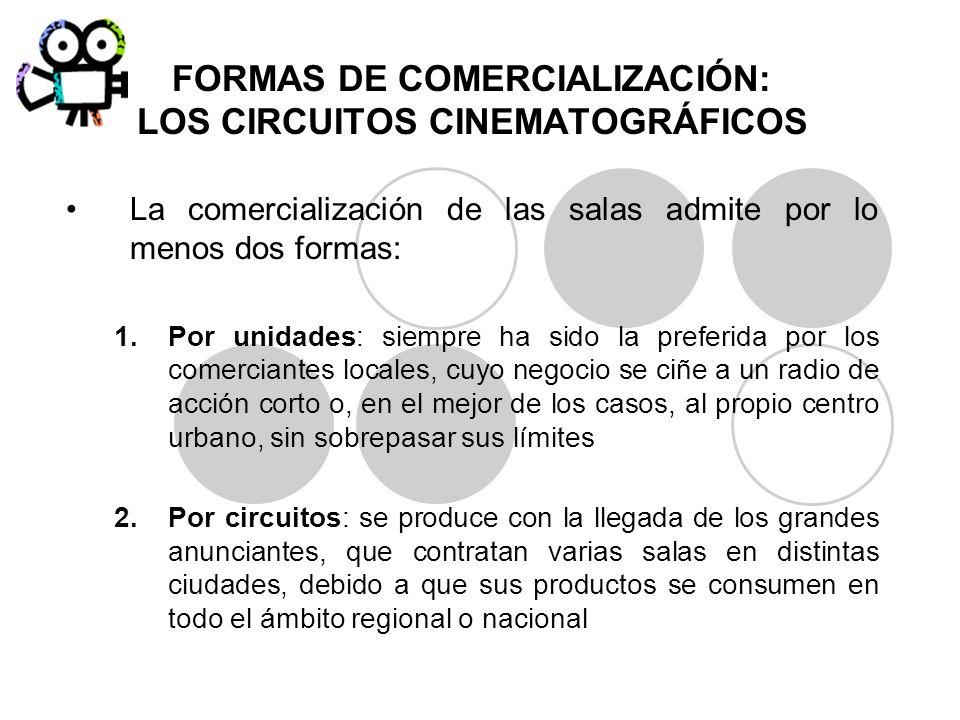 FORMAS DE COMERCIALIZACIÓN: LOS CIRCUITOS CINEMATOGRÁFICOS La comercialización de las salas admite por lo menos dos formas: 1.Por unidades: siempre ha