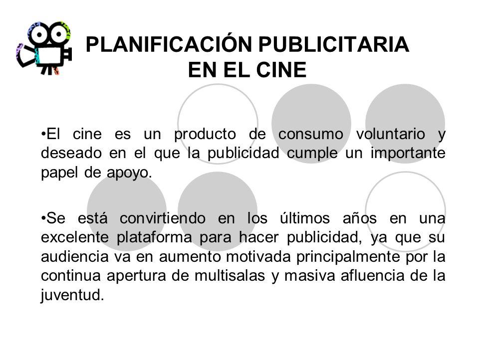 PLANIFICACIÓN PUBLICITARIA EN EL CINE El cine es un producto de consumo voluntario y deseado en el que la publicidad cumple un importante papel de apo