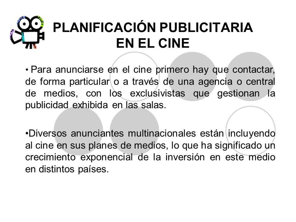 PLANIFICACIÓN PUBLICITARIA EN EL CINE Para anunciarse en el cine primero hay que contactar, de forma particular o a través de una agencia o central de