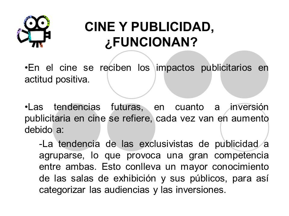 CINE Y PUBLICIDAD, ¿FUNCIONAN? En el cine se reciben los impactos publicitarios en actitud positiva. Las tendencias futuras, en cuanto a inversión pub