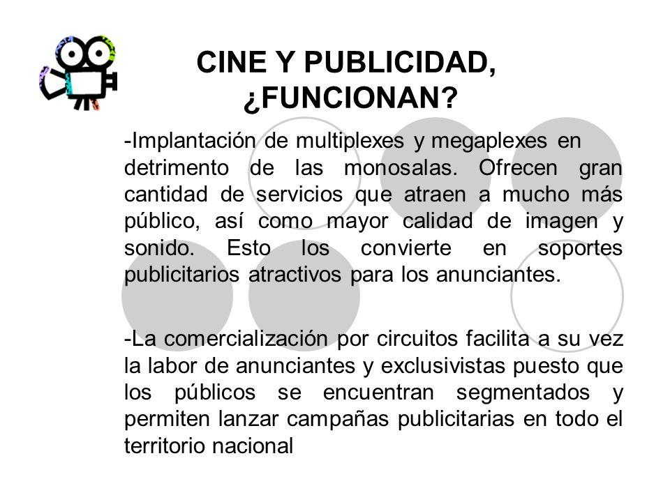 CINE Y PUBLICIDAD, ¿FUNCIONAN? -Implantación de multiplexes y megaplexes en detrimento de las monosalas. Ofrecen gran cantidad de servicios que atraen