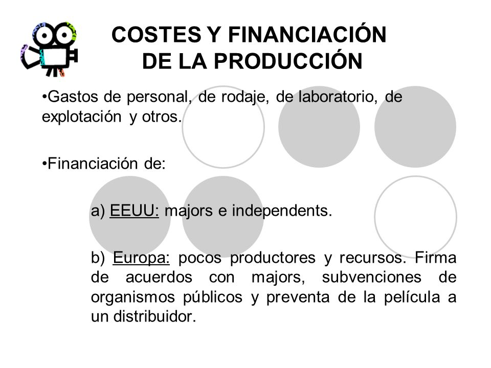 COSTES Y FINANCIACIÓN DE LA PRODUCCIÓN Gastos de personal, de rodaje, de laboratorio, de explotación y otros. Financiación de: a) EEUU: majors e indep