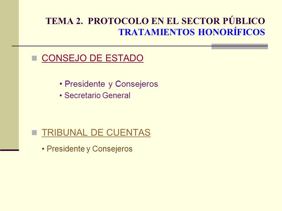 TEMA 2. PROTOCOLO EN EL SECTOR PÚBLICO TRATAMIENTOS HONORÍFICOS CONSEJO DE ESTADO Presidente y Consejeros Secretario General TRIBUNAL DE CUENTAS Presi