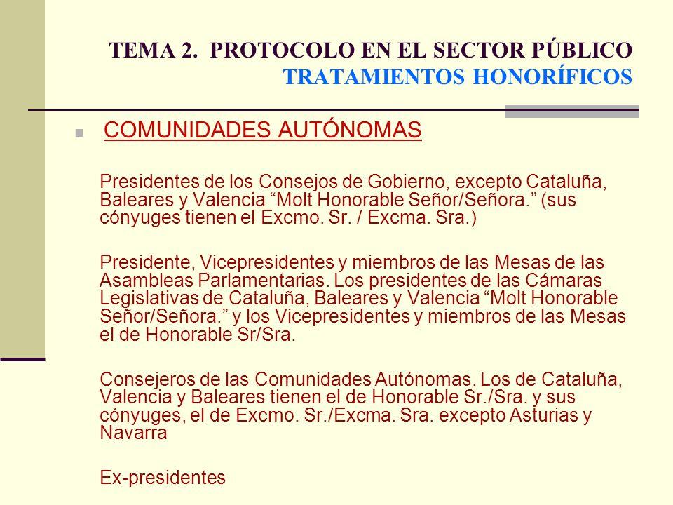 TEMA 2. PROTOCOLO EN EL SECTOR PÚBLICO TRATAMIENTOS HONORÍFICOS COMUNIDADES AUTÓNOMAS Presidentes de los Consejos de Gobierno, excepto Cataluña, Balea