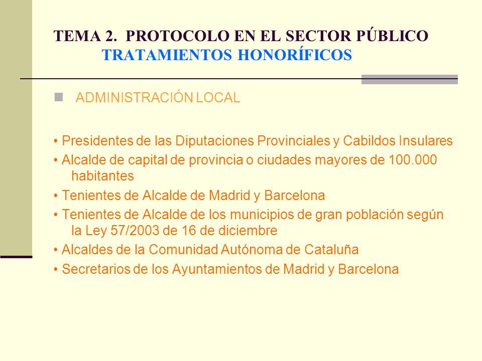 TEMA 2. PROTOCOLO EN EL SECTOR PÚBLICO TRATAMIENTOS HONORÍFICOS ADMINISTRACIÓN LOCAL Presidentes de las Diputaciones Provinciales y Cabildos Insulares