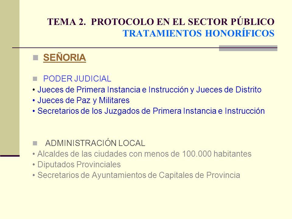 TEMA 2. PROTOCOLO EN EL SECTOR PÚBLICO TRATAMIENTOS HONORÍFICOS SEÑORIA PODER JUDICIAL Jueces de Primera Instancia e Instrucción y Jueces de Distrito