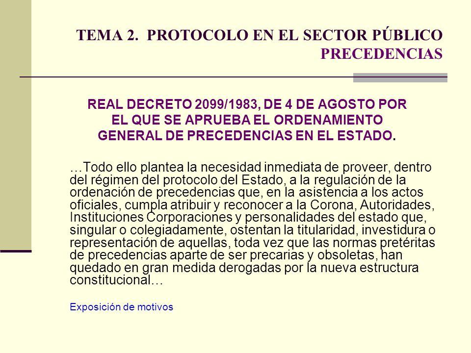 TEMA 2. PROTOCOLO EN EL SECTOR PÚBLICO PRECEDENCIAS REAL DECRETO 2099/1983, DE 4 DE AGOSTO POR EL QUE SE APRUEBA EL ORDENAMIENTO GENERAL DE PRECEDENCI