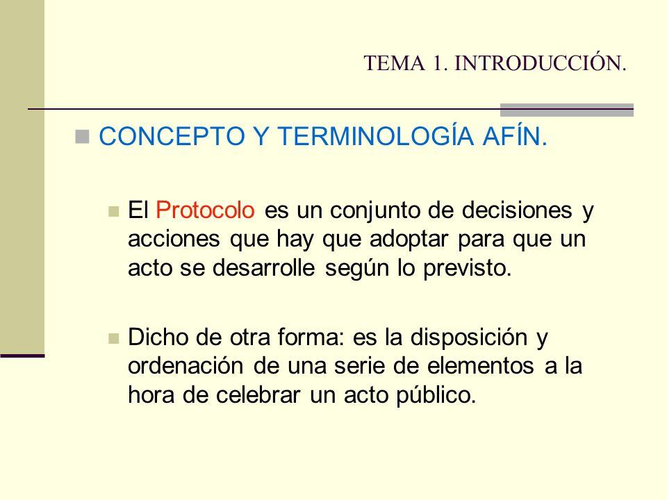 TEMA 1. INTRODUCCIÓN. CONCEPTO Y TERMINOLOGÍA AFÍN. El Protocolo es un conjunto de decisiones y acciones que hay que adoptar para que un acto se desar