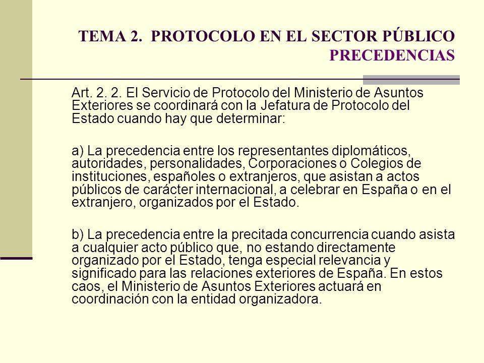 TEMA 2. PROTOCOLO EN EL SECTOR PÚBLICO PRECEDENCIAS Art. 2. 2. El Servicio de Protocolo del Ministerio de Asuntos Exteriores se coordinará con la Jefa
