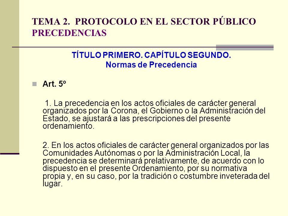 TEMA 2. PROTOCOLO EN EL SECTOR PÚBLICO PRECEDENCIAS TÍTULO PRIMERO. CAPÍTULO SEGUNDO. Normas de Precedencia Art. 5º 1. La precedencia en los actos ofi