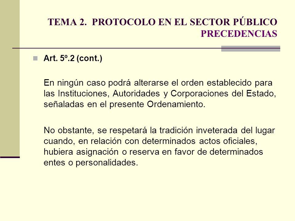 TEMA 2. PROTOCOLO EN EL SECTOR PÚBLICO PRECEDENCIAS Art. 5º.2 (cont.) En ningún caso podrá alterarse el orden establecido para las Instituciones, Auto