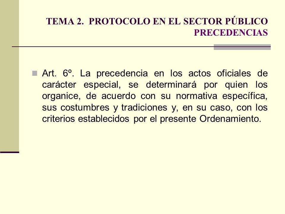 TEMA 2. PROTOCOLO EN EL SECTOR PÚBLICO PRECEDENCIAS Art. 6º. La precedencia en los actos oficiales de carácter especial, se determinará por quien los