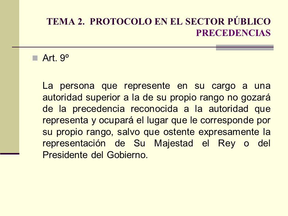 TEMA 2. PROTOCOLO EN EL SECTOR PÚBLICO PRECEDENCIAS Art. 9º La persona que represente en su cargo a una autoridad superior a la de su propio rango no