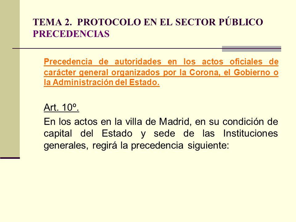 TEMA 2. PROTOCOLO EN EL SECTOR PÚBLICO PRECEDENCIAS Precedencia de autoridades en los actos oficiales de carácter general organizados por la Corona, e