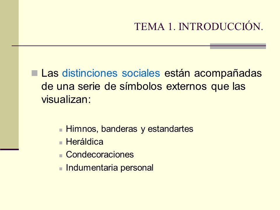 TEMA 1. INTRODUCCIÓN. Las distinciones sociales están acompañadas de una serie de símbolos externos que las visualizan: Himnos, banderas y estandartes
