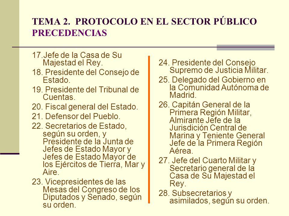 TEMA 2. PROTOCOLO EN EL SECTOR PÚBLICO PRECEDENCIAS 17.Jefe de la Casa de Su Majestad el Rey. 18. Presidente del Consejo de Estado. 19. Presidente del