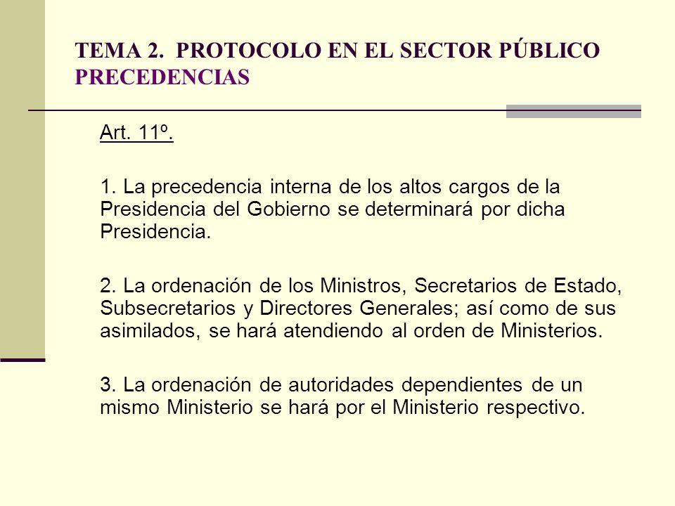 TEMA 2. PROTOCOLO EN EL SECTOR PÚBLICO PRECEDENCIAS Art. 11º. 1. La precedencia interna de los altos cargos de la Presidencia del Gobierno se determin