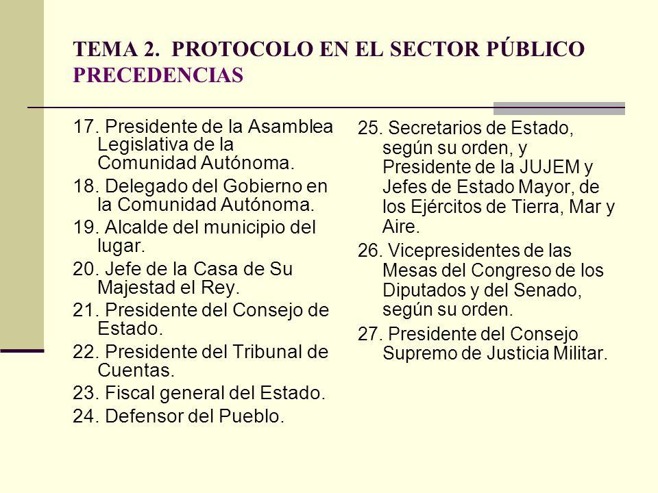 TEMA 2. PROTOCOLO EN EL SECTOR PÚBLICO PRECEDENCIAS 17. Presidente de la Asamblea Legislativa de la Comunidad Autónoma. 18. Delegado del Gobierno en l