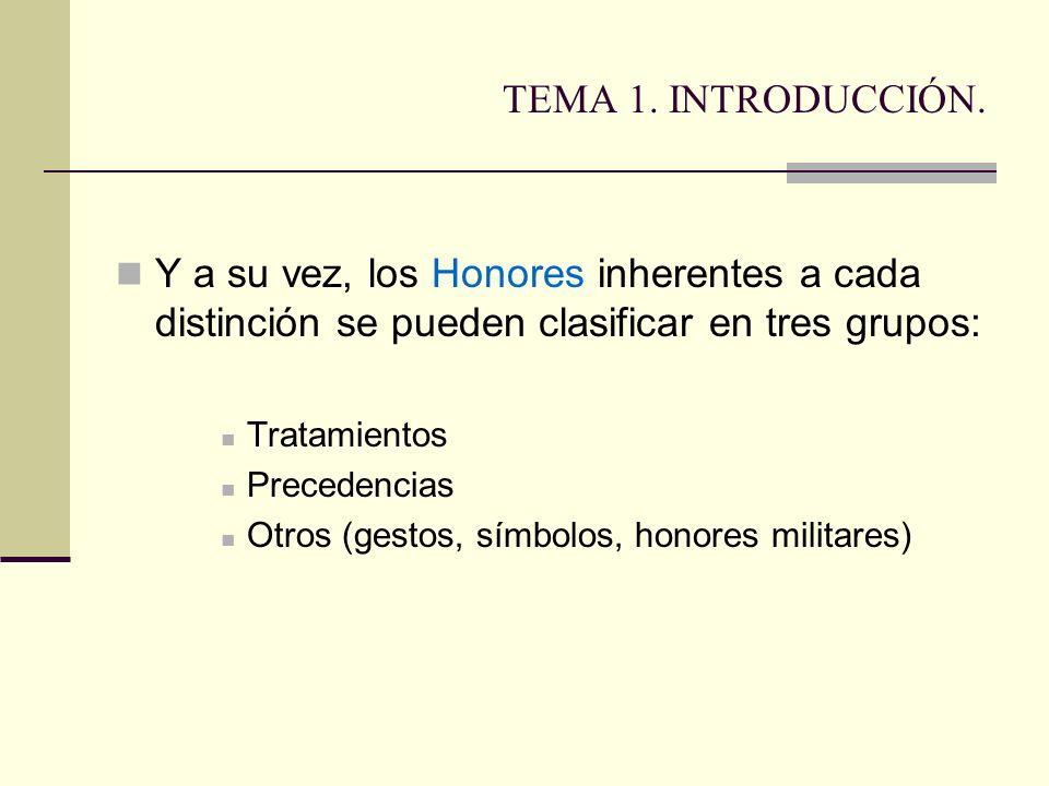 TEMA 1. INTRODUCCIÓN. Y a su vez, los Honores inherentes a cada distinción se pueden clasificar en tres grupos: Tratamientos Precedencias Otros (gesto