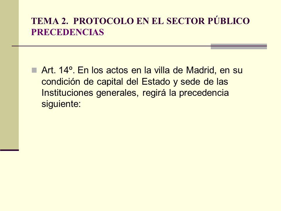 TEMA 2. PROTOCOLO EN EL SECTOR PÚBLICO PRECEDENCIAS Art. 14º. En los actos en la villa de Madrid, en su condición de capital del Estado y sede de las