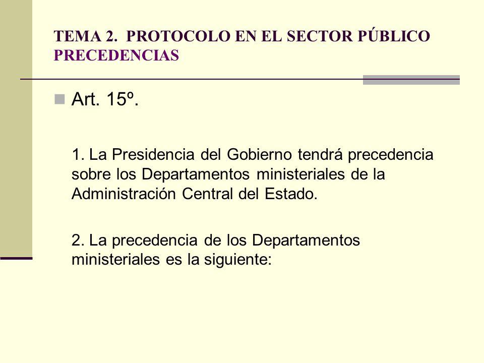 TEMA 2. PROTOCOLO EN EL SECTOR PÚBLICO PRECEDENCIAS Art. 15º. 1. La Presidencia del Gobierno tendrá precedencia sobre los Departamentos ministeriales