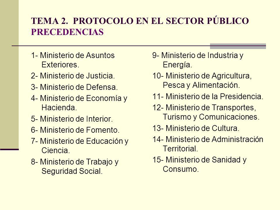 TEMA 2. PROTOCOLO EN EL SECTOR PÚBLICO PRECEDENCIAS 1- Ministerio de Asuntos Exteriores. 2- Ministerio de Justicia. 3- Ministerio de Defensa. 4- Minis