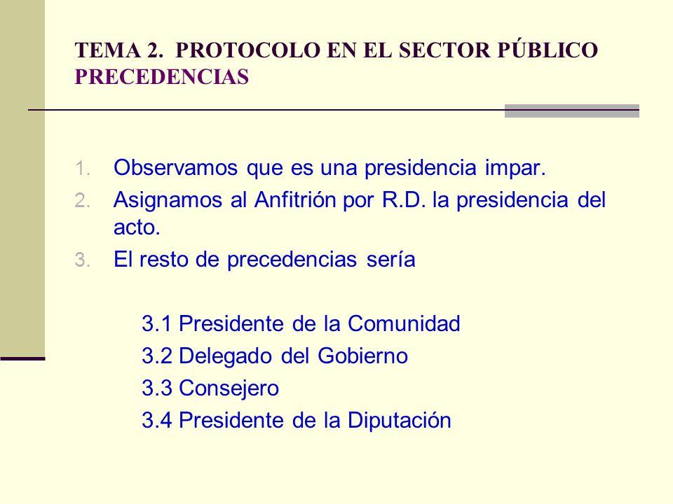 TEMA 2. PROTOCOLO EN EL SECTOR PÚBLICO PRECEDENCIAS 1. Observamos que es una presidencia impar. 2. Asignamos al Anfitrión por R.D. la presidencia del