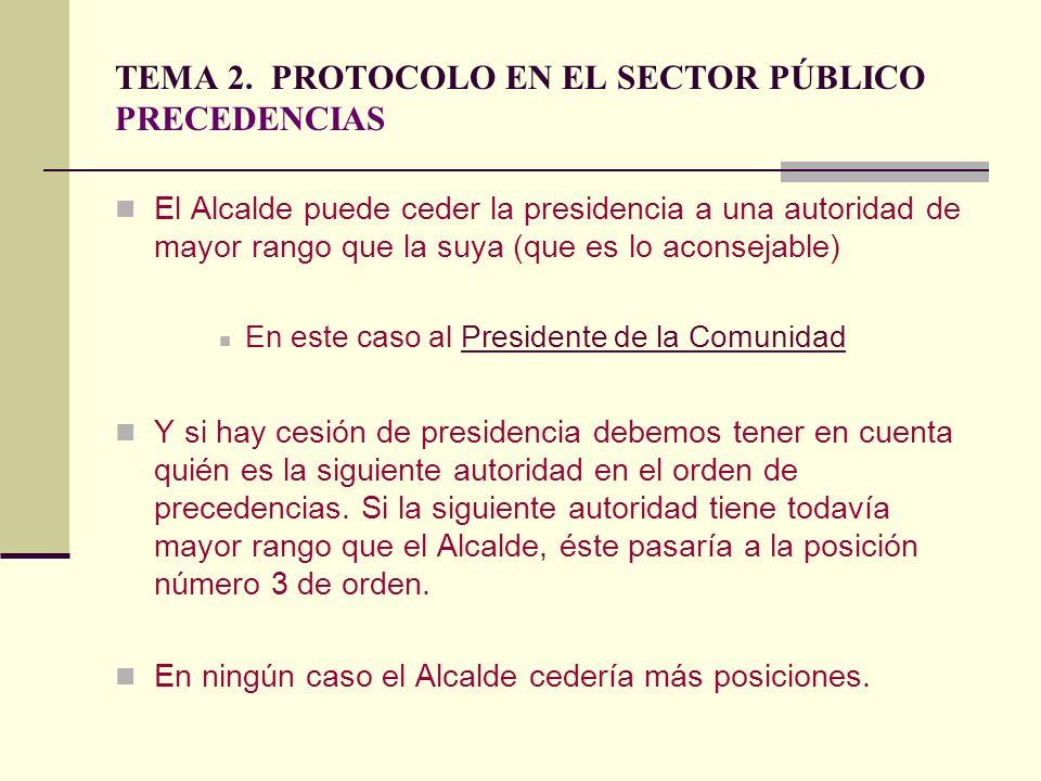 TEMA 2. PROTOCOLO EN EL SECTOR PÚBLICO PRECEDENCIAS El Alcalde puede ceder la presidencia a una autoridad de mayor rango que la suya (que es lo aconse
