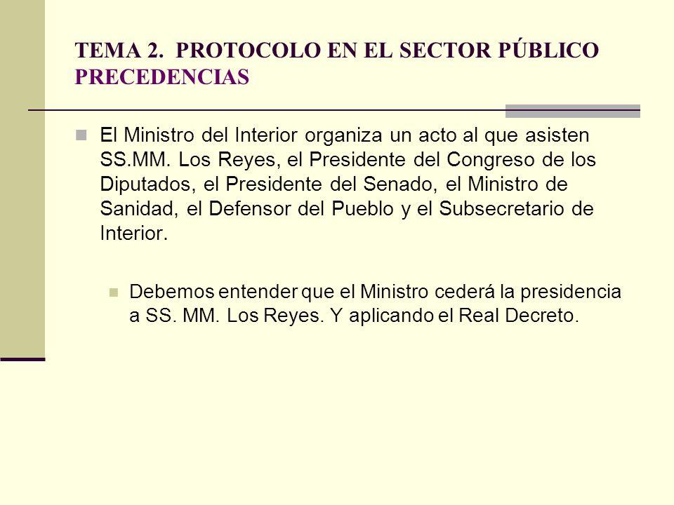 TEMA 2. PROTOCOLO EN EL SECTOR PÚBLICO PRECEDENCIAS El Ministro del Interior organiza un acto al que asisten SS.MM. Los Reyes, el Presidente del Congr
