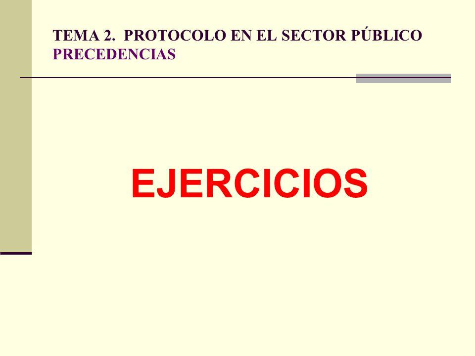 TEMA 2. PROTOCOLO EN EL SECTOR PÚBLICO PRECEDENCIAS EJERCICIOS