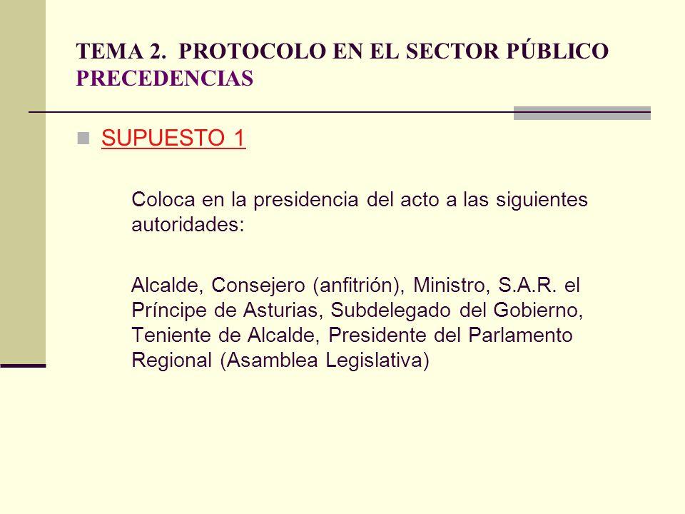 TEMA 2. PROTOCOLO EN EL SECTOR PÚBLICO PRECEDENCIAS SUPUESTO 1 Coloca en la presidencia del acto a las siguientes autoridades: Alcalde, Consejero (anf